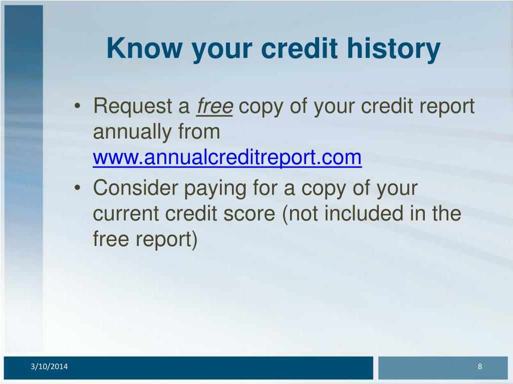 Know your credit history