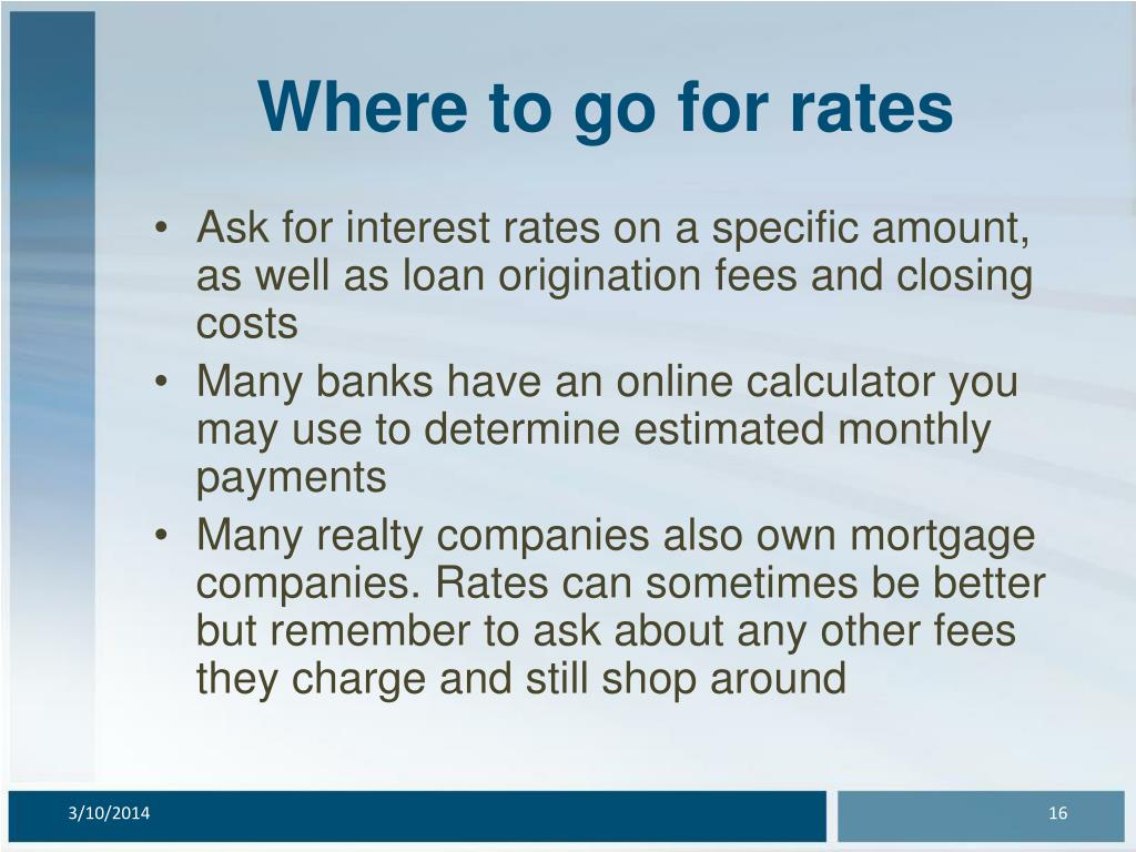Where to go for rates