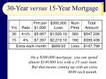 30 year versus 15 year mortgage