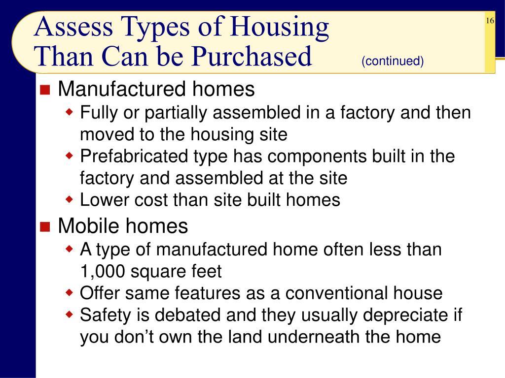 Assess Types of Housing
