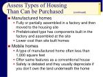 assess types of housing than can be purchased16