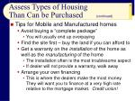 assess types of housing than can be purchased17