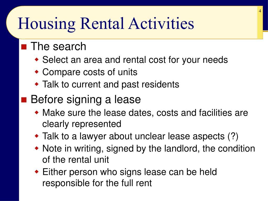 Housing Rental Activities