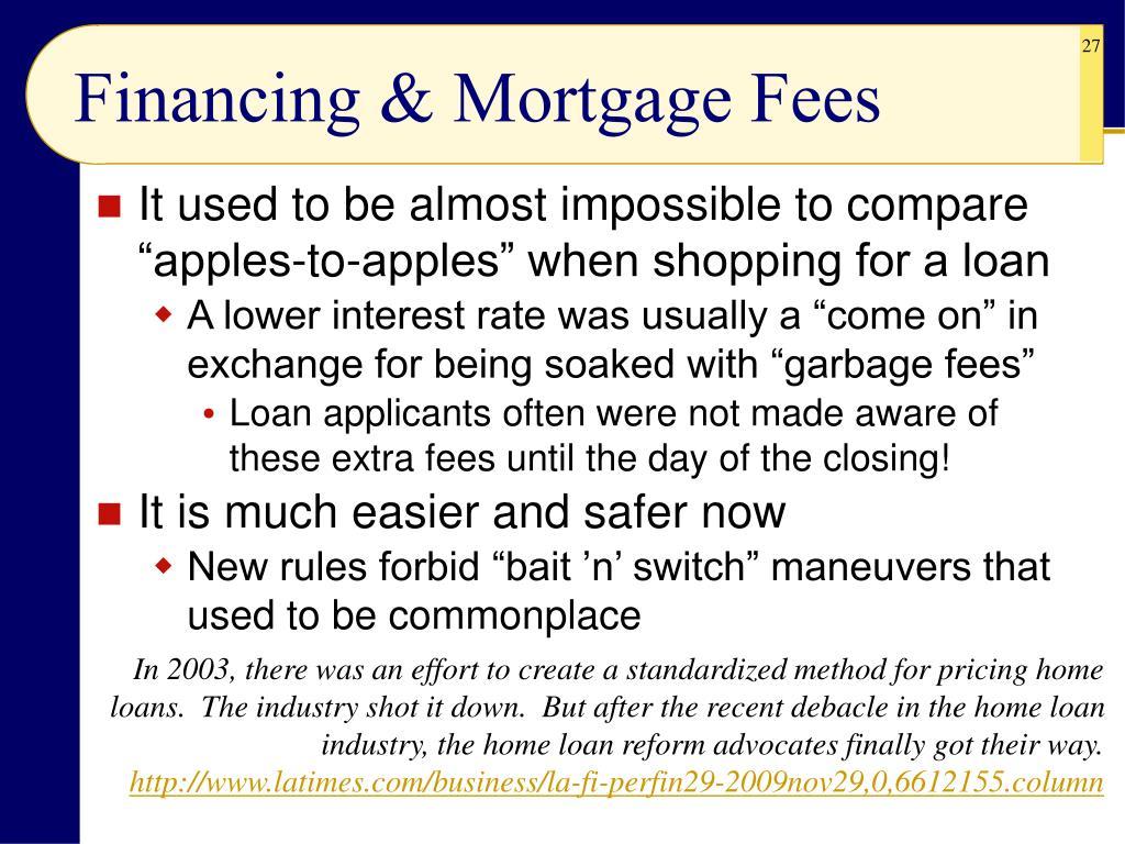 Financing & Mortgage Fees