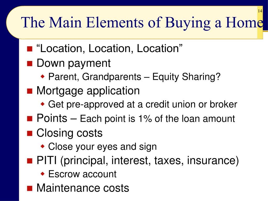 The Main Elements of Buying a Home