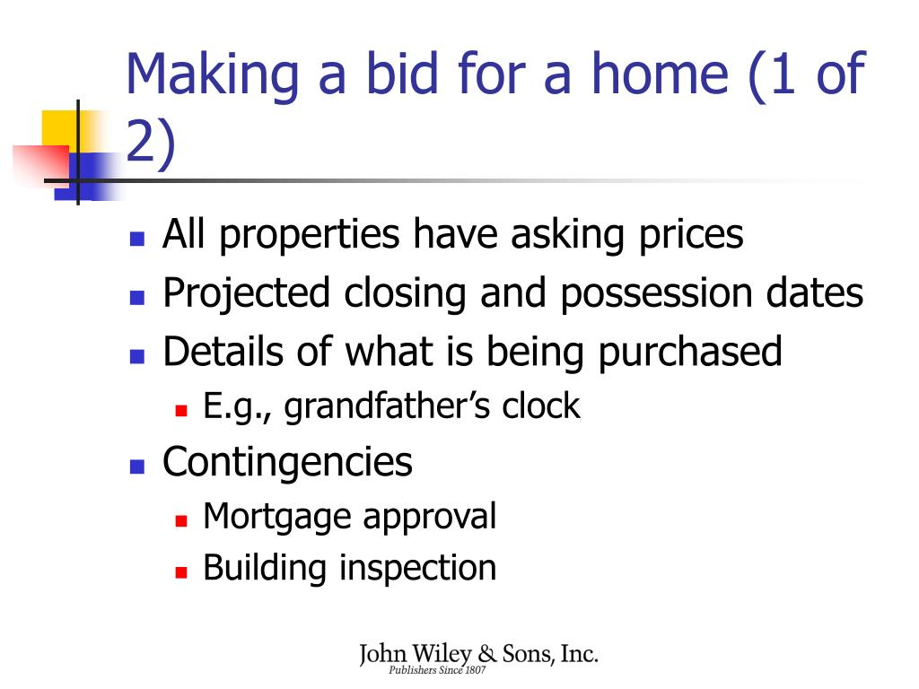 Making a bid for a home (1 of 2)