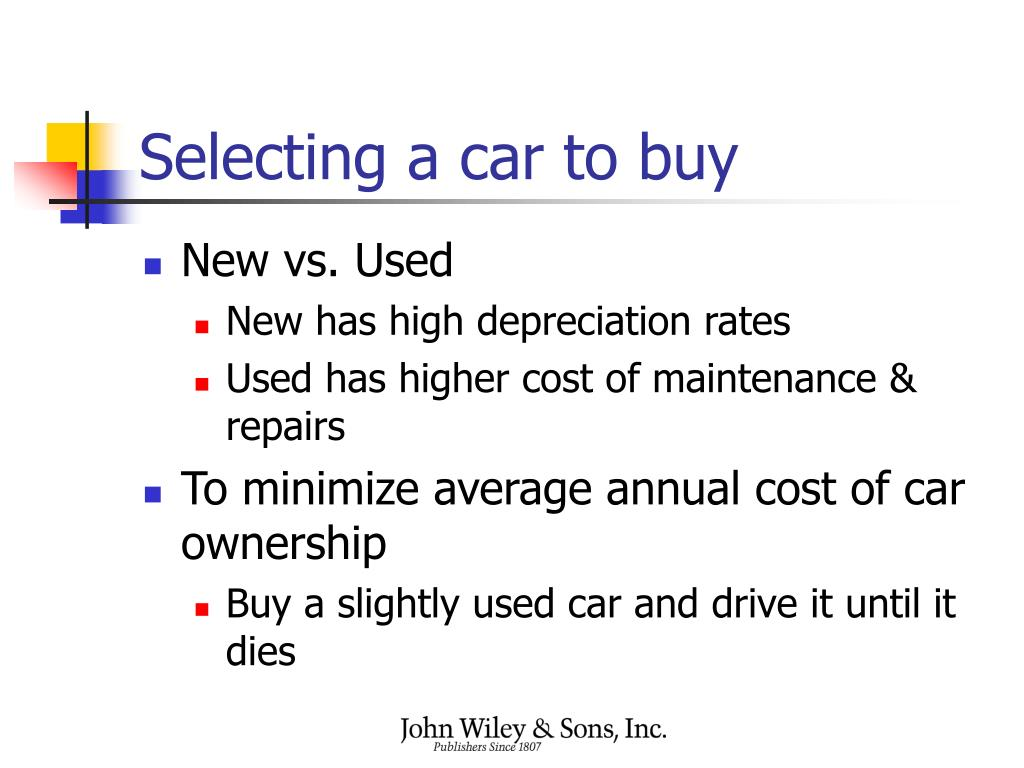 Selecting a car to buy