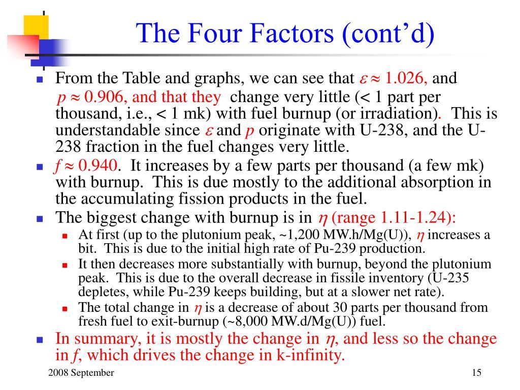 The Four Factors (cont'd)