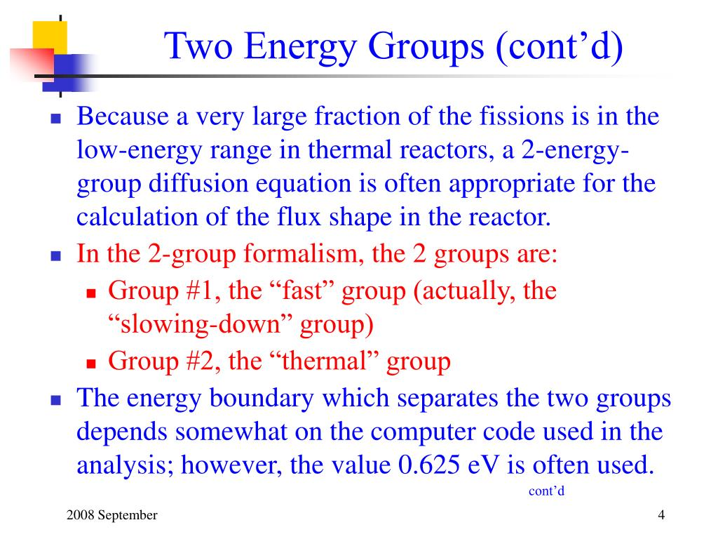 Two Energy Groups (cont'd)