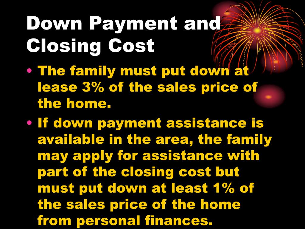 Down Payment and Closing Cost