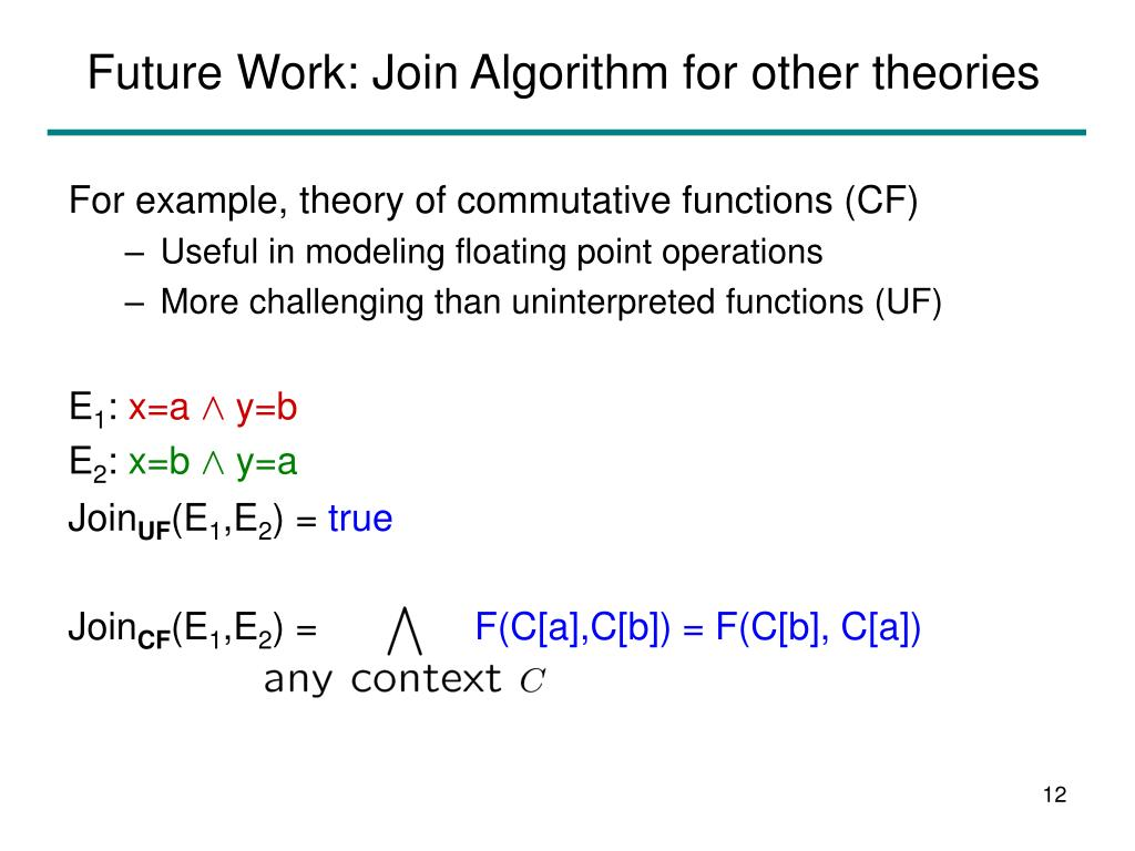 Future Work: Join Algorithm for other theories