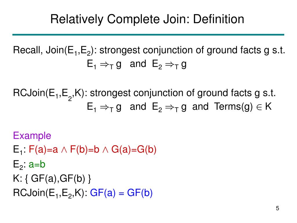 Relatively Complete Join: Definition