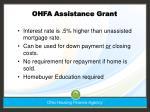 ohfa assistance grant