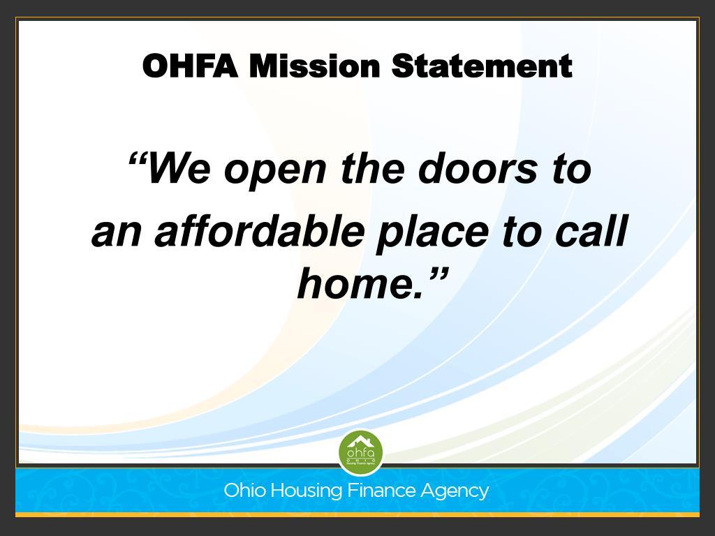 OHFA Mission Statement