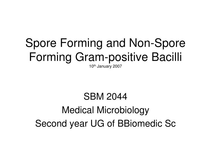 spore forming and non spore forming gram positive bacilli 10 th january 2007 n.