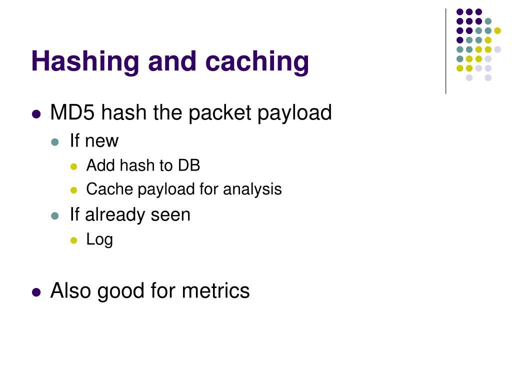 Hashing and caching