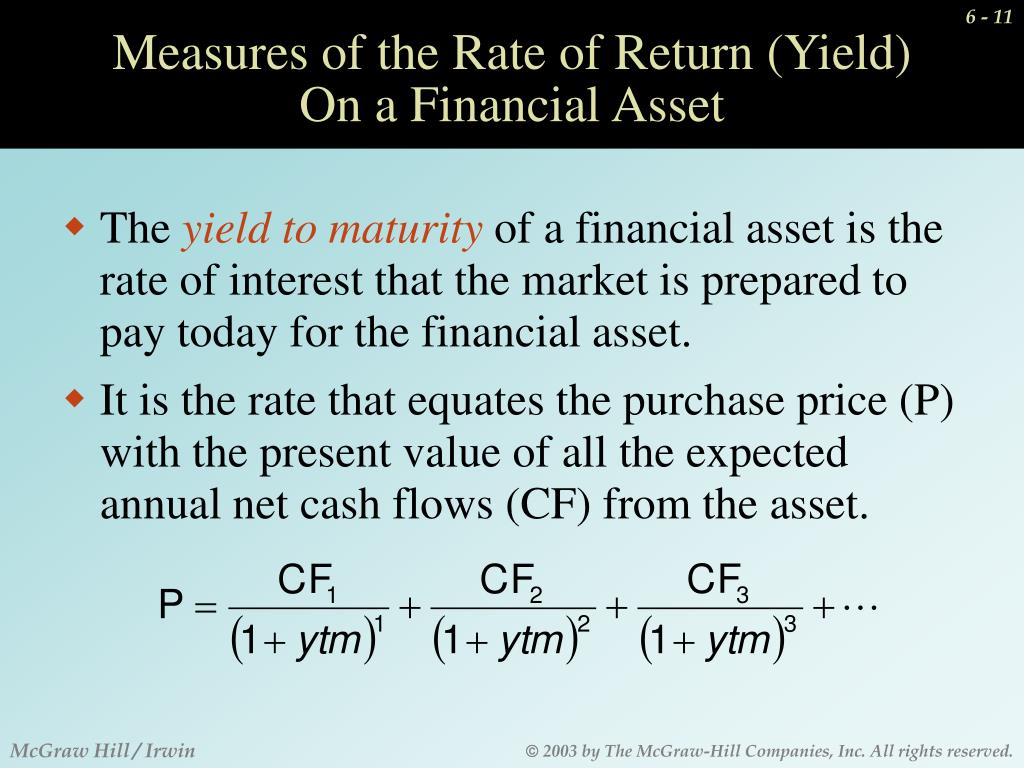 Measures of the Rate of Return (Yield)