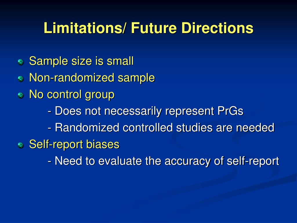 Limitations/ Future Directions