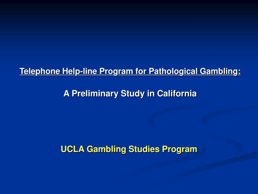 Telephone Help-line Program for Pathological Gambling: