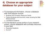 4 choose an appropriate database for your subject
