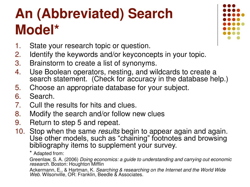 An (Abbreviated) Search Model*