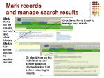 mark records and manage search results