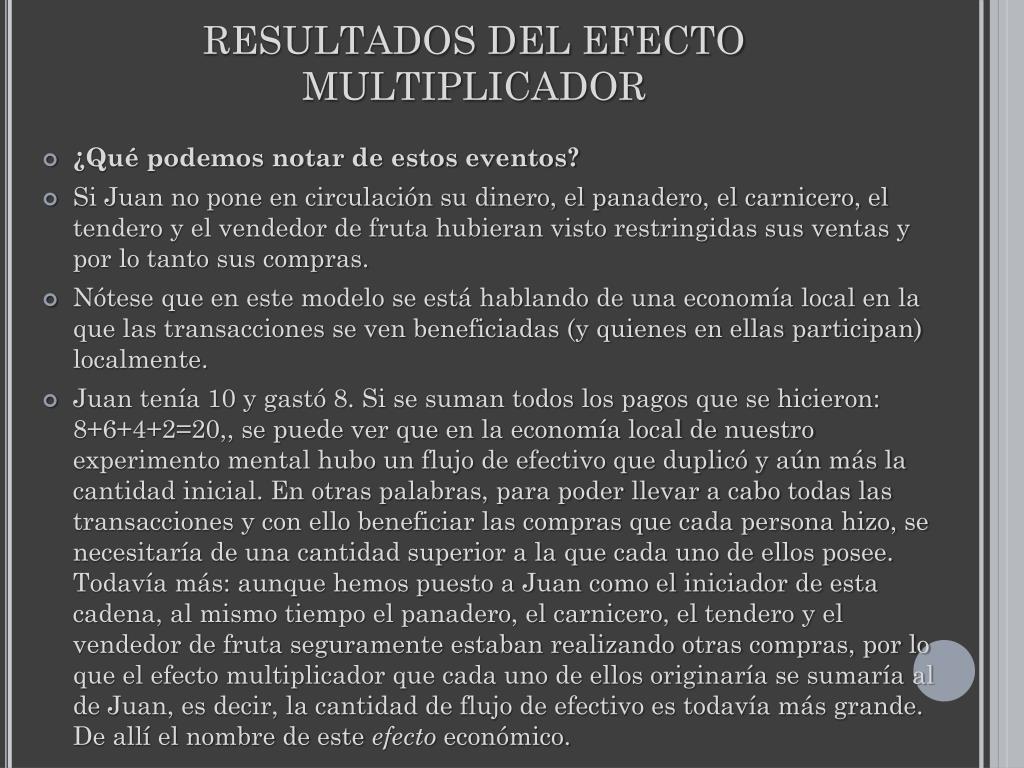 RESULTADOS DEL EFECTO MULTIPLICADOR