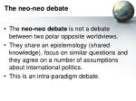 the neo neo debate