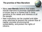 the promise of neo liberalism