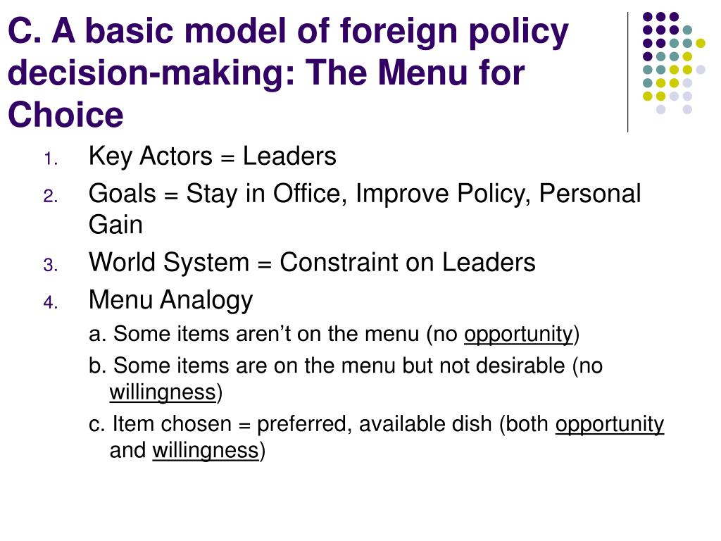 C. A basic model of foreign policy decision-making: The Menu for Choice