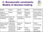 c bureaucratic constraints models of decision making33