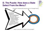 d the puzzle how does a state select from the menu