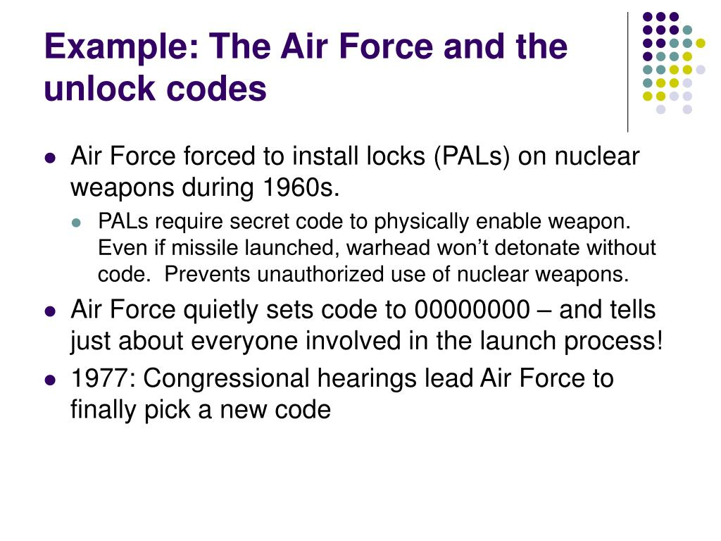 Example: The Air Force and the unlock codes