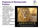 features of bureaucratic politics