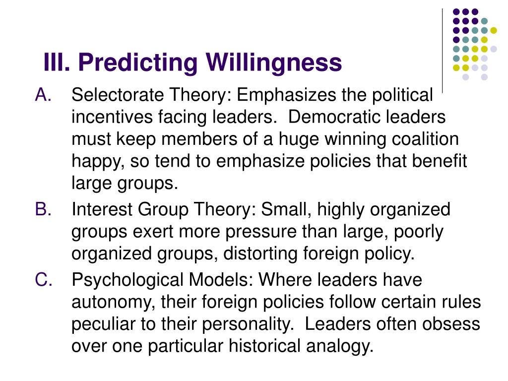III. Predicting Willingness