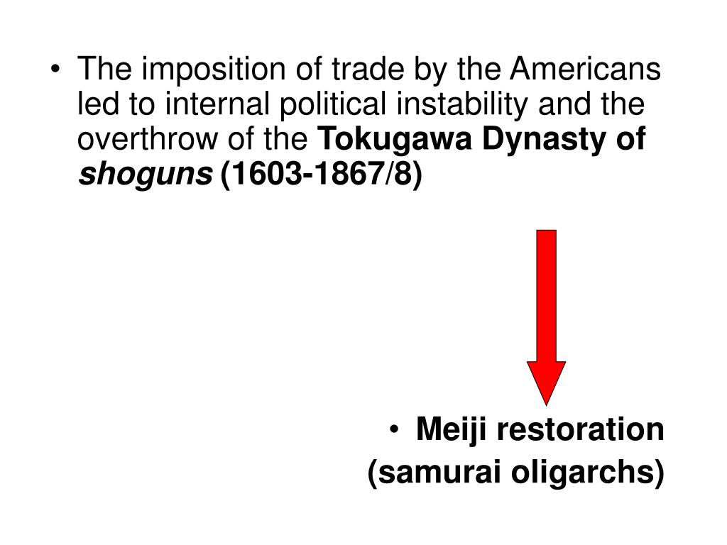 The imposition of trade by the Americans led to internal political instability and the overthrow of the