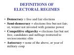 definitions of electoral regimes