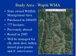 study area wapiti wma