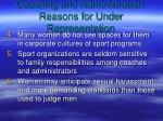 coaching and administration reasons for under representation19