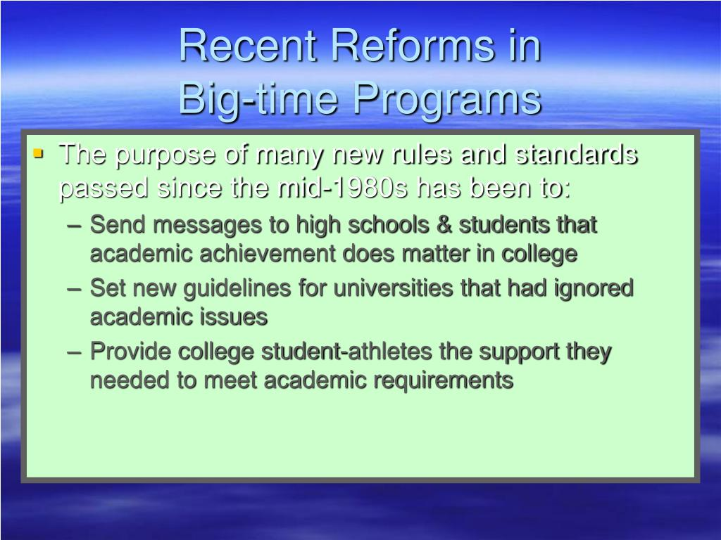 Recent Reforms in