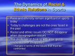 the dynamics of racial ethnic relations in sports