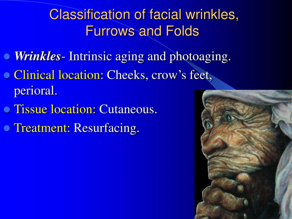 Classification of facial wrinkles, Furrows and Folds