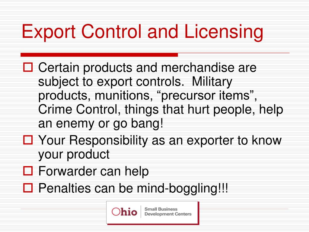 Export Control and Licensing