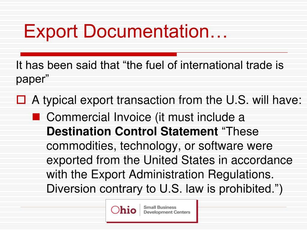 Export Documentation…