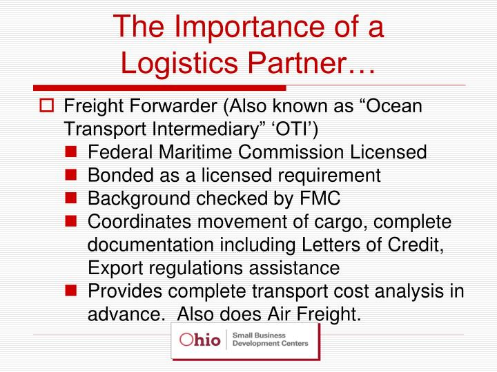 The importance of a logistics partner3