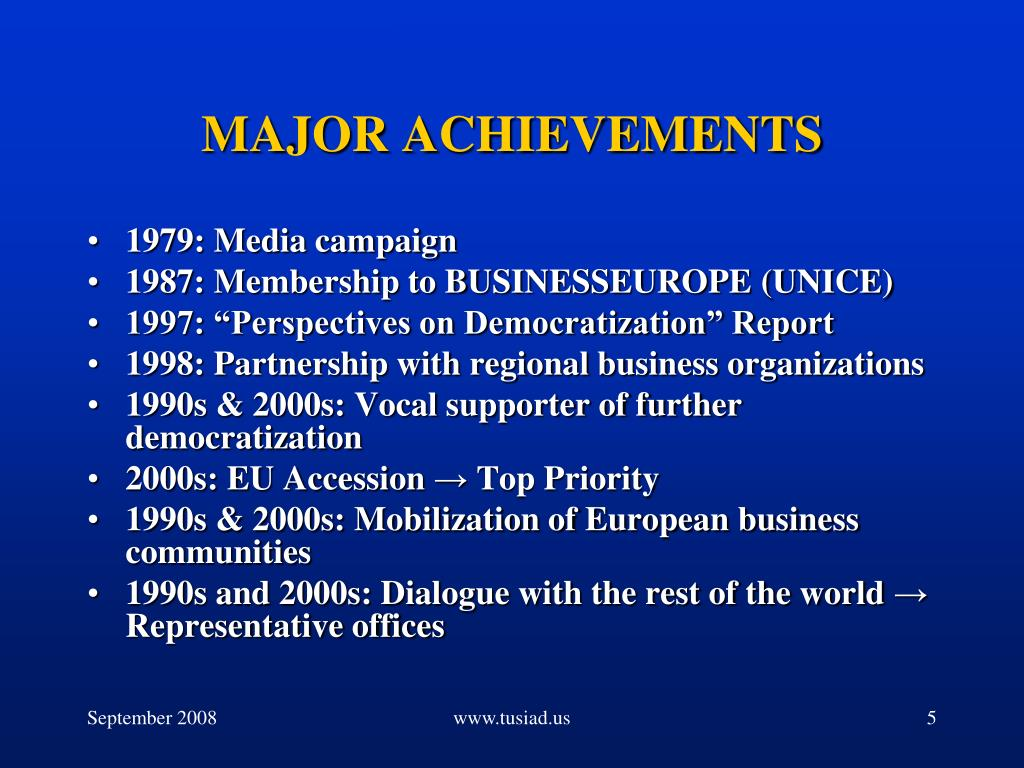 MAJOR ACHIEVEMENTS