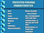 protected personal characteristics