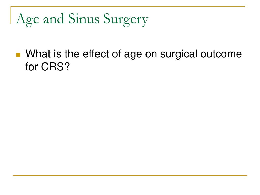 Age and Sinus Surgery