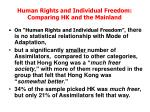 human rights and individual freedom comparing hk and the mainland