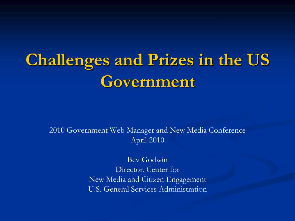 challenges and prizes in the us government l.